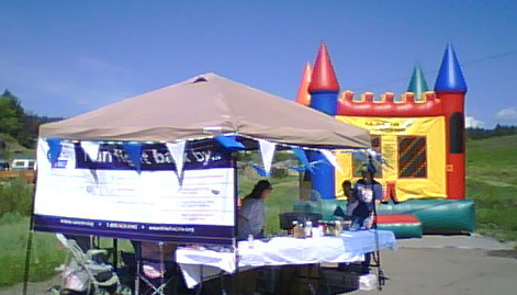 bounce house and booth